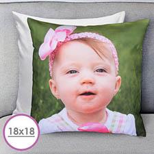 18 X 18 Photo Gallery Custom Pillow (White Back) Cushion (No Insert)
