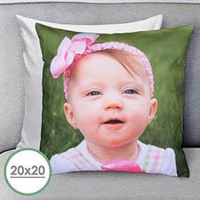 20 X 20 Photo Gallery Custom Pillow (White Back) Cushion (No Insert)
