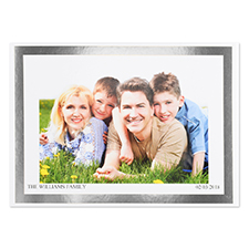 Create Your Own Silver Foil Frame Personalized Photo Card, 5X7