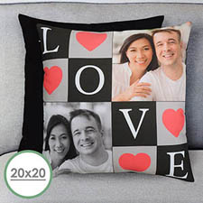 Love Collage Personalized Large Pillow Cushion Cover 20