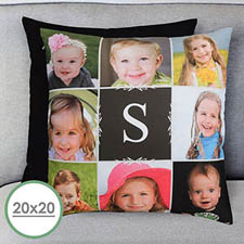 20 X 20 Monogrammed Photo Collage Personalized Pillow  Cushion (No Insert)
