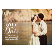 Create Your Own Real Foil Silver Treasured Date Personalized Photo Save The Date, 5X7