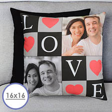 Love Collage Personalized Pillow Cushion (No Insert)