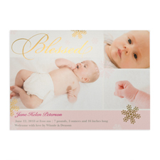 Create Your Own Blessed Gold Foil Personalized Photo Girl Birth Announcement, 5X7 Card Invites