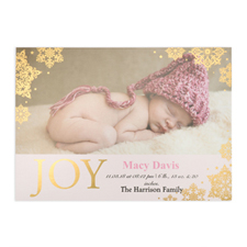 Create Your Own Joy Foil Gold Personalized Photo Girl Birth Announcement, 5X7 Card Invites