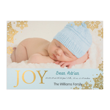 Create Your Own Joy Foil Gold Personalized Photo Boy Birth Announcement, 5X7 Card Invites