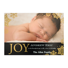 Create Your Own Joy Foil Gold Personalized Photo Birth Announcement, 5X7 Card Invites