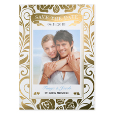 Floral Foil Gold Personalized Wedding Save The Date Card