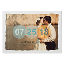 Pure Romance Glitter Personalized Photo Wedding Announcement 5X7 Cards