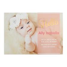 Script Hello Foil Gold Personalized Photo Girl Birth Announcement, 5X7 Cards