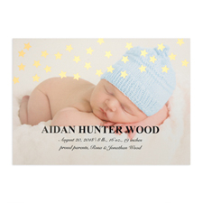 Star Foil Gold Personalized Photo Birth Announcement, 5X7 Cards