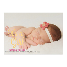 It's A Girl Foil Gold Personalized Photo Birth Announcement, 5X7 Cards