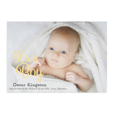 It's A Boy Foil Gold Personalized Photo Birth Announcement, 5X7 Cards