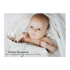 It's A Boy Foil Silver Personalized Photo Birth Announcement, 5X7 Cards