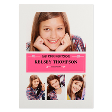 Polished Success Pink Personalized Graduation Invitation Cards