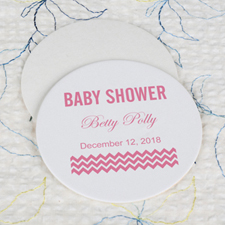 Pink Baby Shower Round Coaster Custom Print