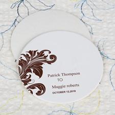 Vintage Wedding Cardboard Round Coaster Custom Print