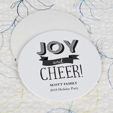 Joy And Cheer Cardboard Round Coaster Custom Print