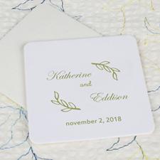 Fern Wedding Cardboard Square Coaster Custom Print