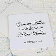 Classic Wedding Cardboard Square Coaster Custom Print