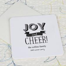 Joy And Cheer Cardboard Square Coaster Custom Print