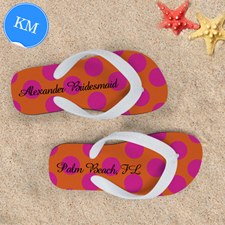 Mandarin Fuchsia Dot Personalized Flip Flops, Kids Medium