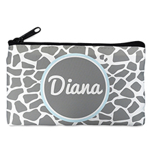 Grey Leopard Personalized Small Cosmetic Bag (4