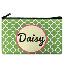 Green Clover Monogrammedmed Personalized Cosmetic Bag, 5 X 8