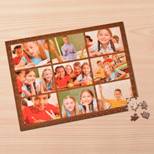 Personalized Brown 9 Collage 12X16.5 Photo Puzzle