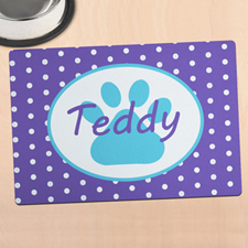 Lavender Polka Dot Personalized Paw Meal Mat