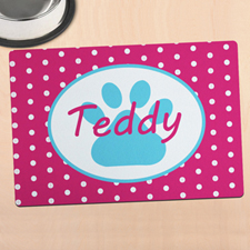 Hot Pink Polka Dot Personalized Paw Meal Mat