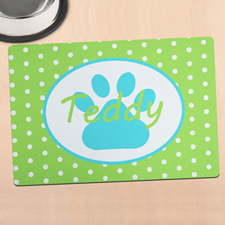 Lime Polka Dot Personalized Paw Meal Mat