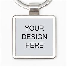 Custom Imprint Metal Square Keychain (Small)