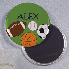 Green Sports Personalized Round Button Magnet