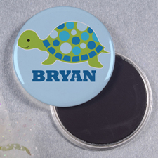 Blue Turtle Personalized Round Button Magnet
