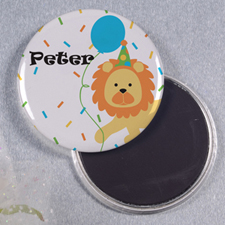 Lion Balloon Personalized Round Button Magnet