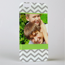 Lime Grey Chevron Personalized Photo iPhone 6+ Case