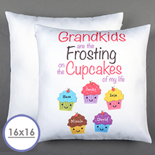 Five Cupcakes Personalized Pillow Cushion Cover 16
