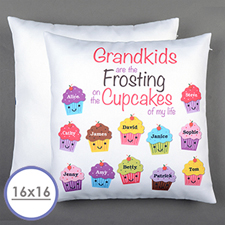 Twelve Cupcakes Personalized Pillow Cushion Cover 16