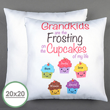 Five Cupcakes Personalized Large Pillow Cushion Cover 20