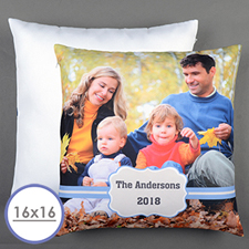 Blue Frame Personalized Pillow Cushion Cover 16