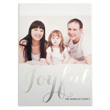 Foil Silver Joyful Personalized Photo Christmas Card
