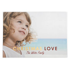 Foil Gold Christmas Love Personalized Photo Card