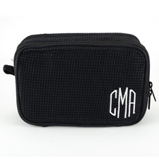 Monogrammed Embroidered Black Cotton Waffle Weave Cosmetic Bag