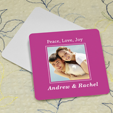 Hot Pink Personalized Photo Square Cardboard Coaster