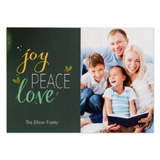 Joy Peace Love Personalized Photo Christmas Card