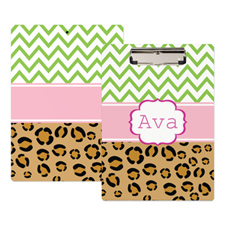 Chevron Leopard Print Personalized Clipboard