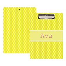 Yellow Polka Dot Personalized Clipboard