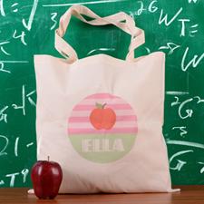 Pink Stripe Apple Personalized School Tote Bag