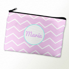 Pink Chevron Turquoise Frame Personalized Cosmetic Bag